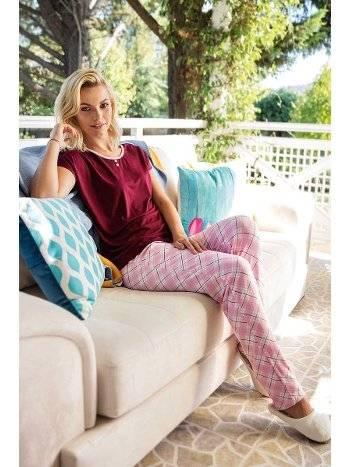 Yeni İnci BPJ1442 Bordo Kısa Kollu Kadın Pijama Takımı