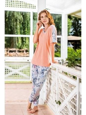 Yeni İnci BPJ1526 Somon Çiçekli Kadın Pijama Takım