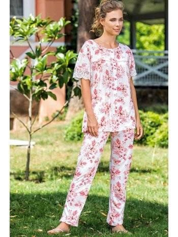 Yeni İnci BPJ1558 Çiçek Desen Önden Düğmeli Pijama Takım