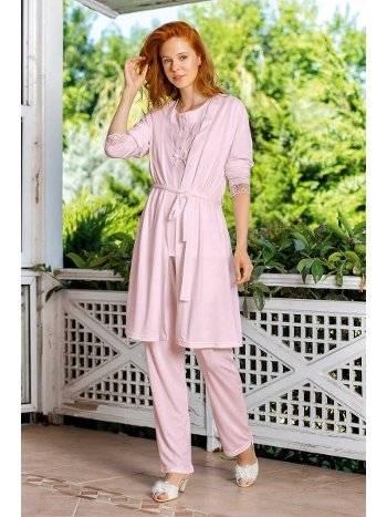Yeni İnci BPJ190 Viskon 3lü Sabahlıklı Pijama Takım