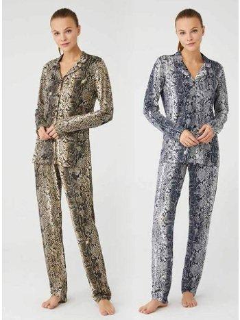 Yılan Desenli Önden Düğmeli Pijama Takım Mod Collection 3391