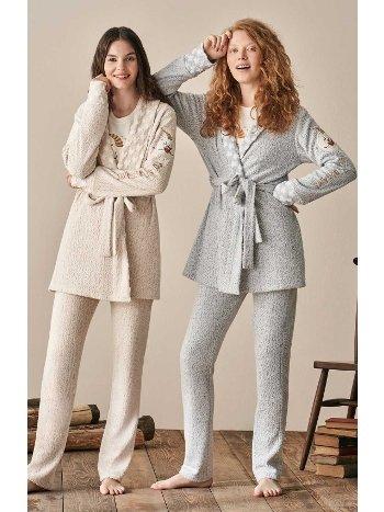 Yıldız Özel Tasarım Welsoft Sabahlıklı 3lü Pijama Takımı Feyza 3902