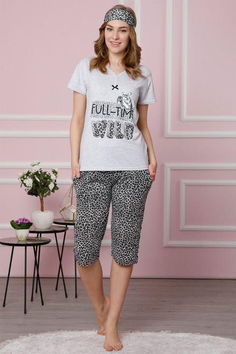 Akbeniz Kadın Gri Pamuklu Cepli Kapri Pijama Takım 3520