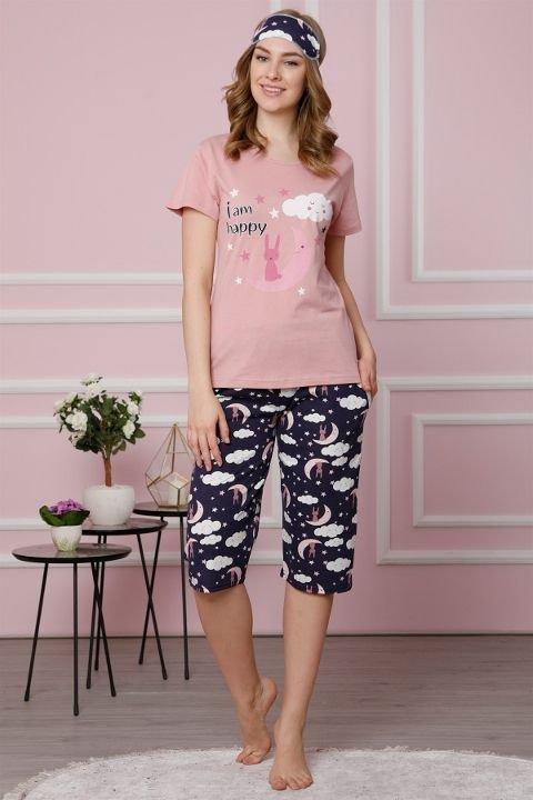 Akbeniz Kadın Pudra Pamuklu Cepli Kapri Pijama Takım 3521