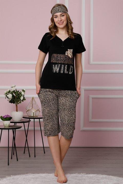 Akbeniz Kadın Siyah Pamuklu Cepli Kapri Pijama Takım 3513