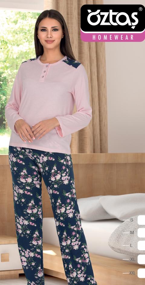 Bayan Uzun Kollu Pijama Takım 22056-A Öztaş