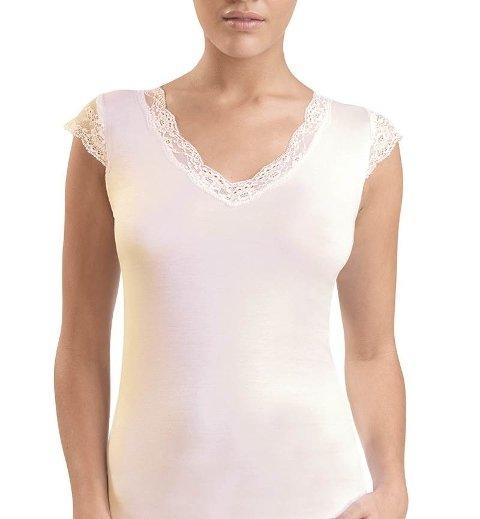 BlackSpade Kadın Dantelli Krem T-Shirt 1348