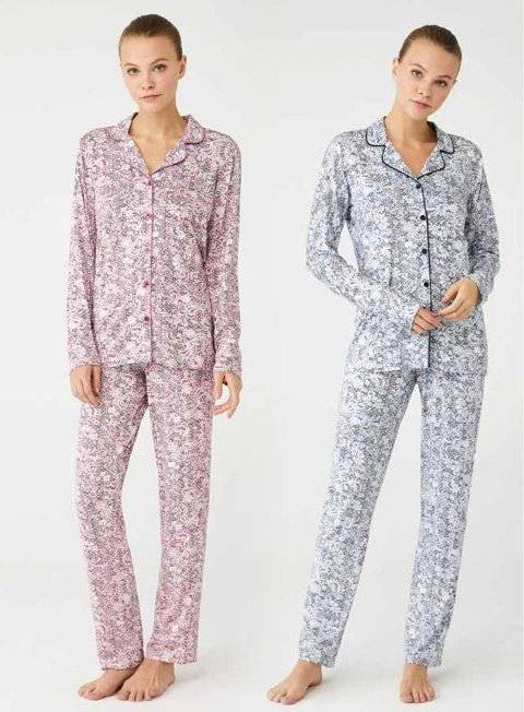 Boydan Düğmeli Gömlek Pijama Takım Mod Collection 3401