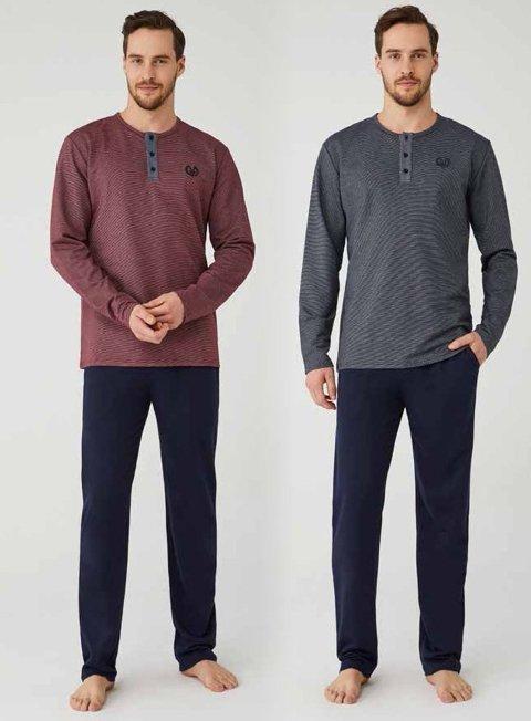 Düğmeli Yaka Erkek Pijama Takım Mod Collection 3336