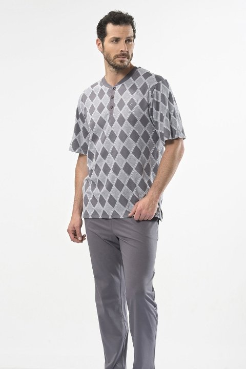 Jakarlı Baklavalı Patlı Kısa Kol Pijama Cacharel 2112/GRİ