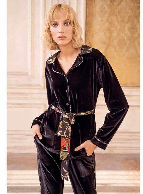 Kadife Önden Düğmeli Bayan Pijama Takımı Miss Loren 2006