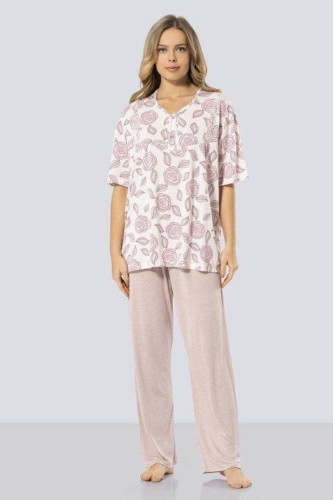Kısa Kollu Anne Pijama Takım Türen 3321/PUDRA
