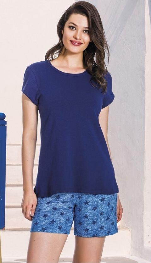 Lady Lacivert Yıldız Desenli T-Shirt Şort Takımı 7387