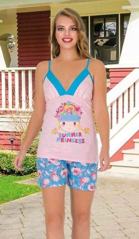 Lady Pricess Asklı Şortlu Pijama Takım 7652