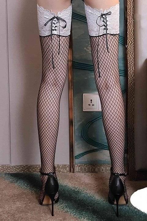Merry See Özel Tasarım Kurdelalı Danteli File Jartiyer Çorap Beyaz