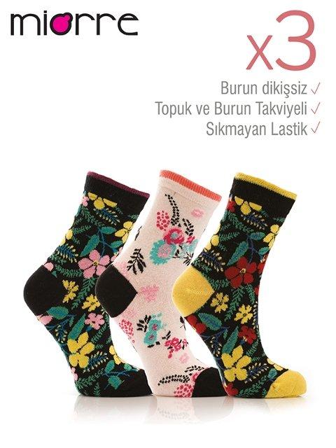 Miorre 3lü Bayan Çiçekli Çorap