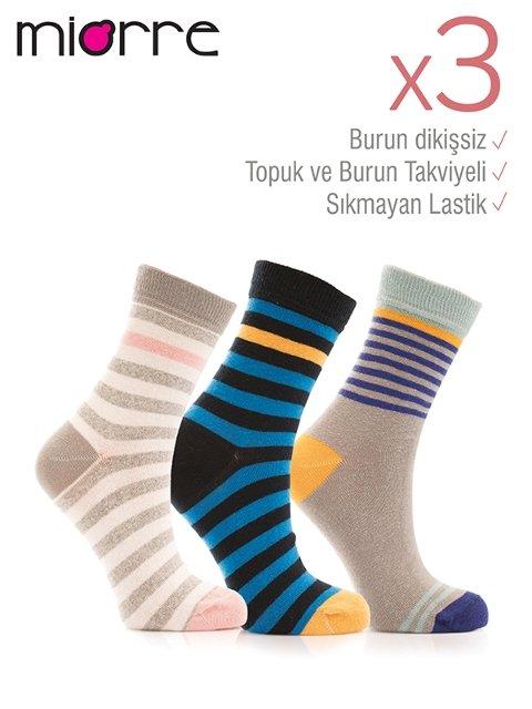 Miorre 3lü Bayan Çizgili Çorap