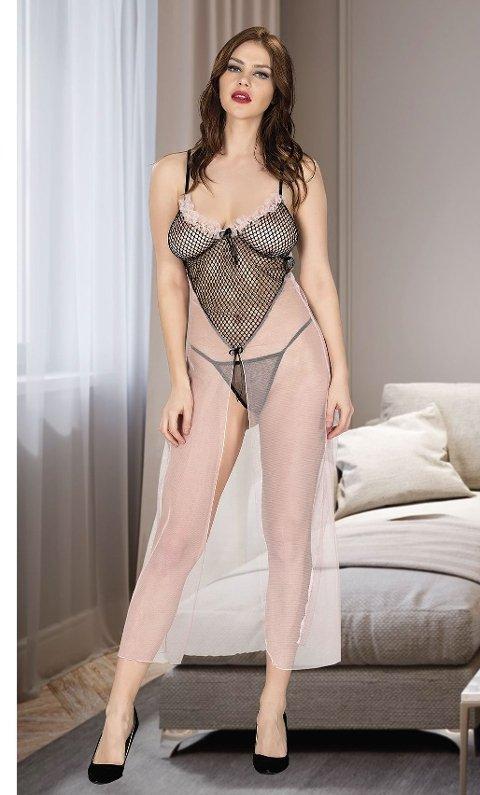 File Detaylı Erotik Uzun Gecelik Miss Dore 4206