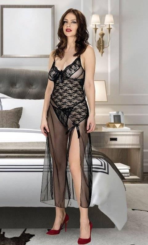 Uzun Seksi Transparan Gecelik Takım Miss Dore 4214