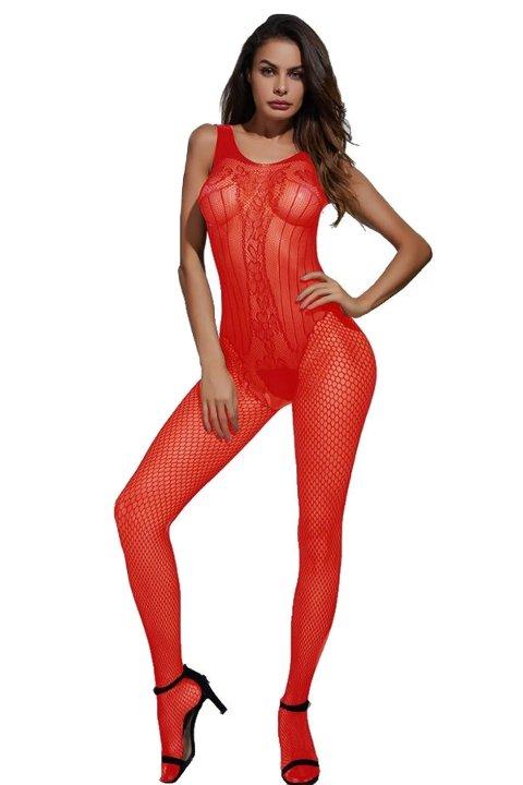 Mite Love File Lazer Kesim Vücut Çorabı Fantazi Giyim Kırmızı ML-9599