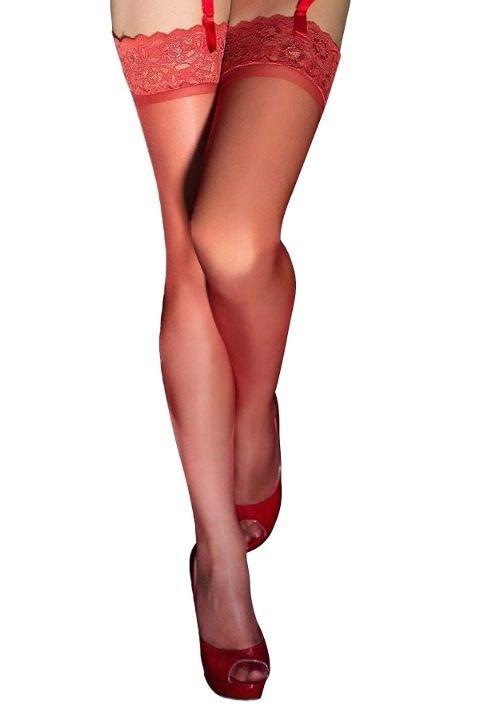 Jartiyer Çorap Mite Love Kırmızı Düz Silikonlu Dantelli Jartiyer Çorap