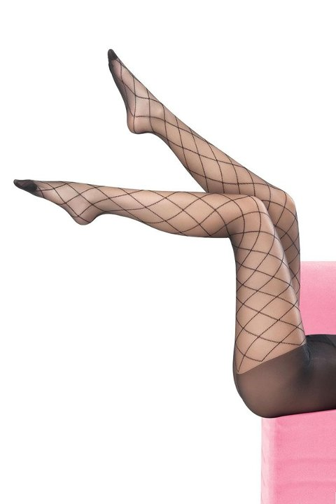 Mite Love Külotlu Çorap Baklava Çizgili Siyah ML-5842