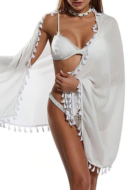 Pareo Mite Love Püsküllü Beyaz Pareo Plaj Giyim ML-5523