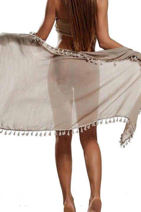 Pareo Mite Love Püsküllü Kahverengi Pareo Plaj Giyim ML-5524