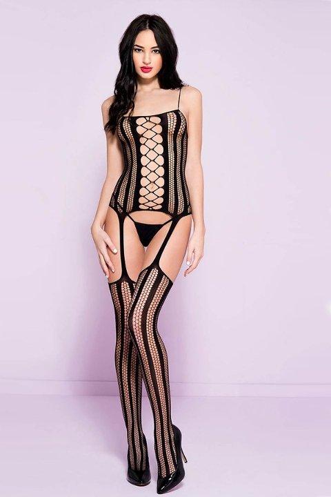 Mite Love Seksi Vücut Çorabı Siyah Fantazi iç Giyim