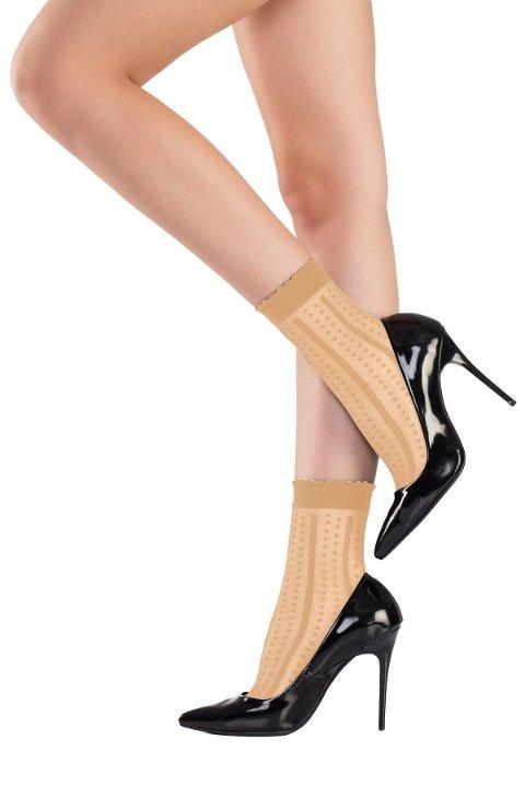 Mite Love Soket Çorap Nokta Desenli Ten ML-5812