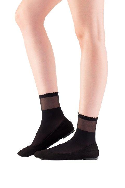 Mite Love Soket Çorap Transparan Bilekli Siyah ML-5845