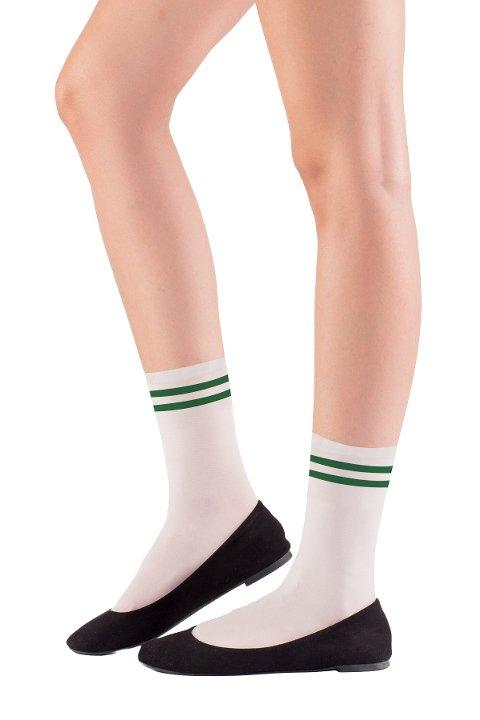 Mite Love Soket Çorap Yeşil Çizgili ML-5821