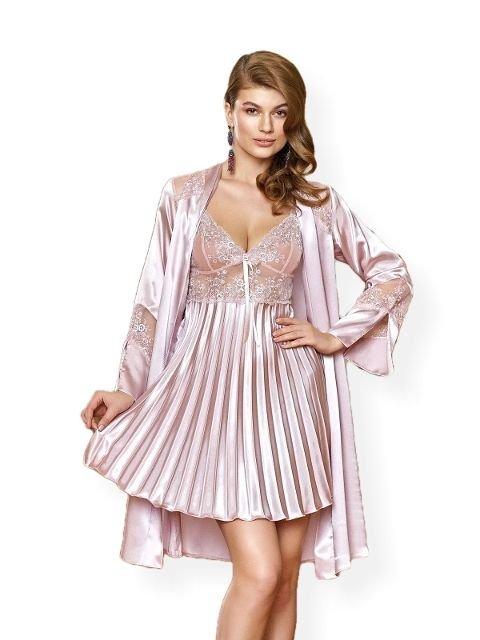 Nurteks 5355 Saten Kimono Takım Gecelik Sabahlık