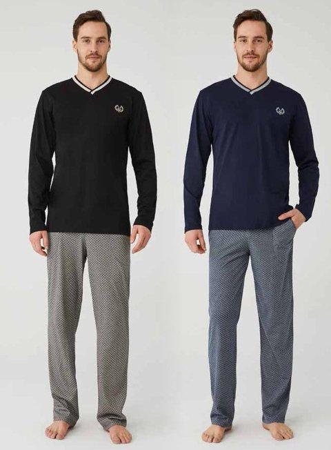 V Yakalı Pamuklu Erkek Pijama Takım Mod Collection 3330