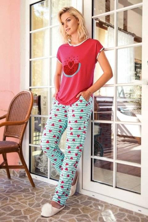 Yeni İnci BPJ1472 Karpuz Desenli Kadın Pijama Takım