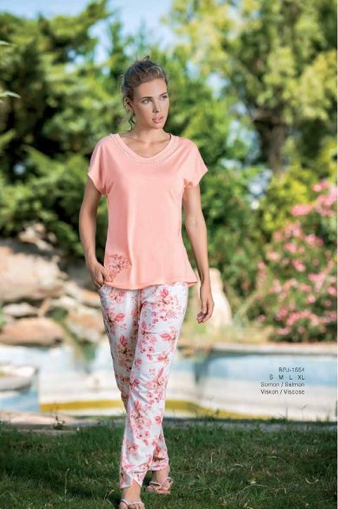 Yeni İnci BPJ1554 Bayan Kısa Kol Viskon 2li Pijama Takım
