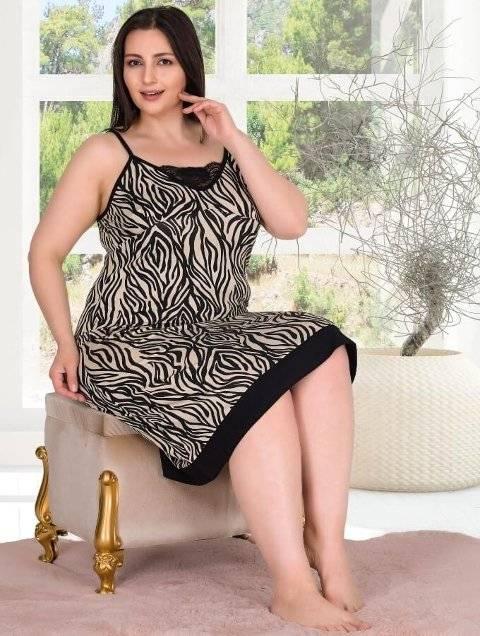 Zebra Desen Askılı Büyük Beden Gecelik Lady 8509