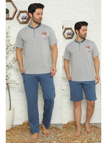 3'lü Gri Pijama Takımı Akbeniz 6739