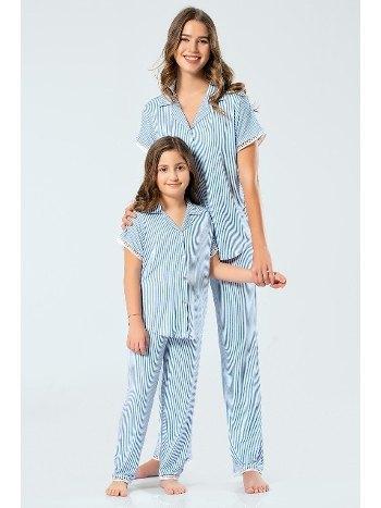Anne Çocuk Çizgili Kısa Kollu Gömlek Yaka Pijama Takım Türen 3343