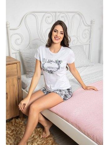 Baskılı Kısa Kollu Şortlu Kadın Pijama Takımı MyBen 30069