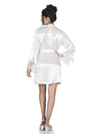 Beyaz Bride Işlemeli Kısa Sabahlık For Dreams 9498