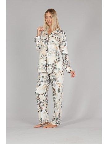 Biyeli Önden Düğmeli Pijama Takımı Bone 5331