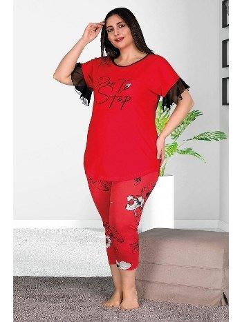 Büyük Beden Kapri Pijama Takımı Battal Pijama Takımı Lady 10535