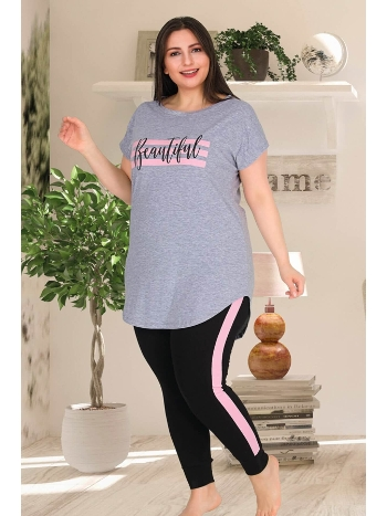Büyük Beden Spor Kadın Pijama Takım Lady 10817