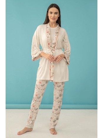 Çiçek Baskılı Büyük Beden 3'lü Pijama Takım Feyza 4041 B