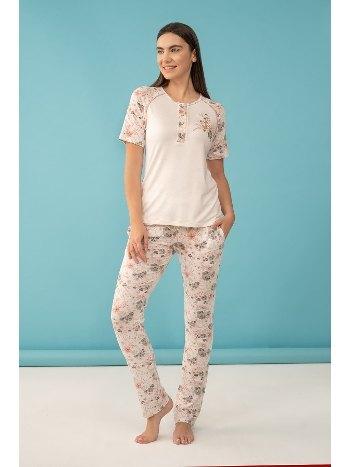Çiçek Baskılı Patlı Kısa Kol Büyük Beden Pijama Takım Feyza 4039 B
