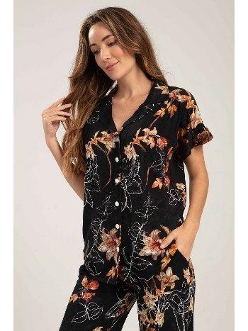 Çiçek Desen Önden Düğmeli Lohusa Hamile Pijama Takımı Bone CLub 5247
