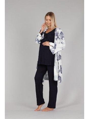 Çiçekli Dokuma Sabahlıklı Lohusa Hamile Pijama Takımı Bone 5313