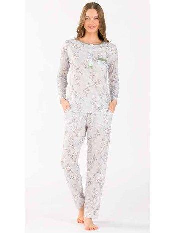 Çiçekli Uzun Kollu Patlı Pijama Takım Yeni İnci BPJ1755