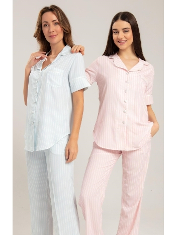 Çizgili Düğmeli Pijama Takım Bone Club 5207